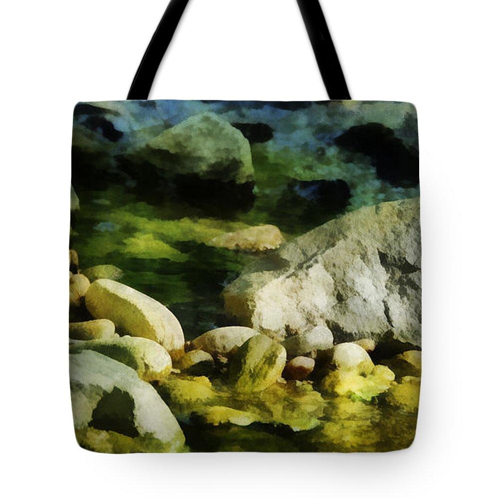 Rocks Tote Bag featuring the digital art River Rocks 3 by Francesa Miller