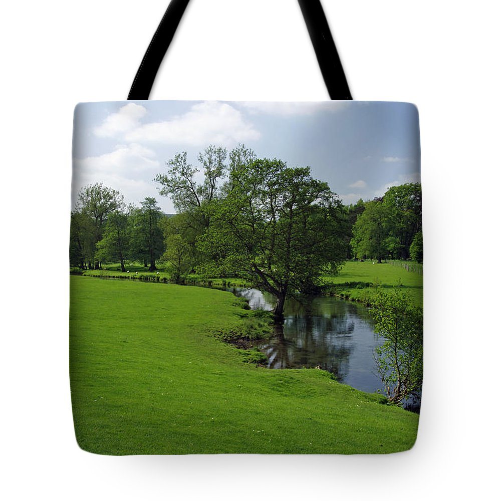 Derbyshire Tote Bag featuring the photograph Riverside Meadows - Ashford-in-the-water by Rod Johnson