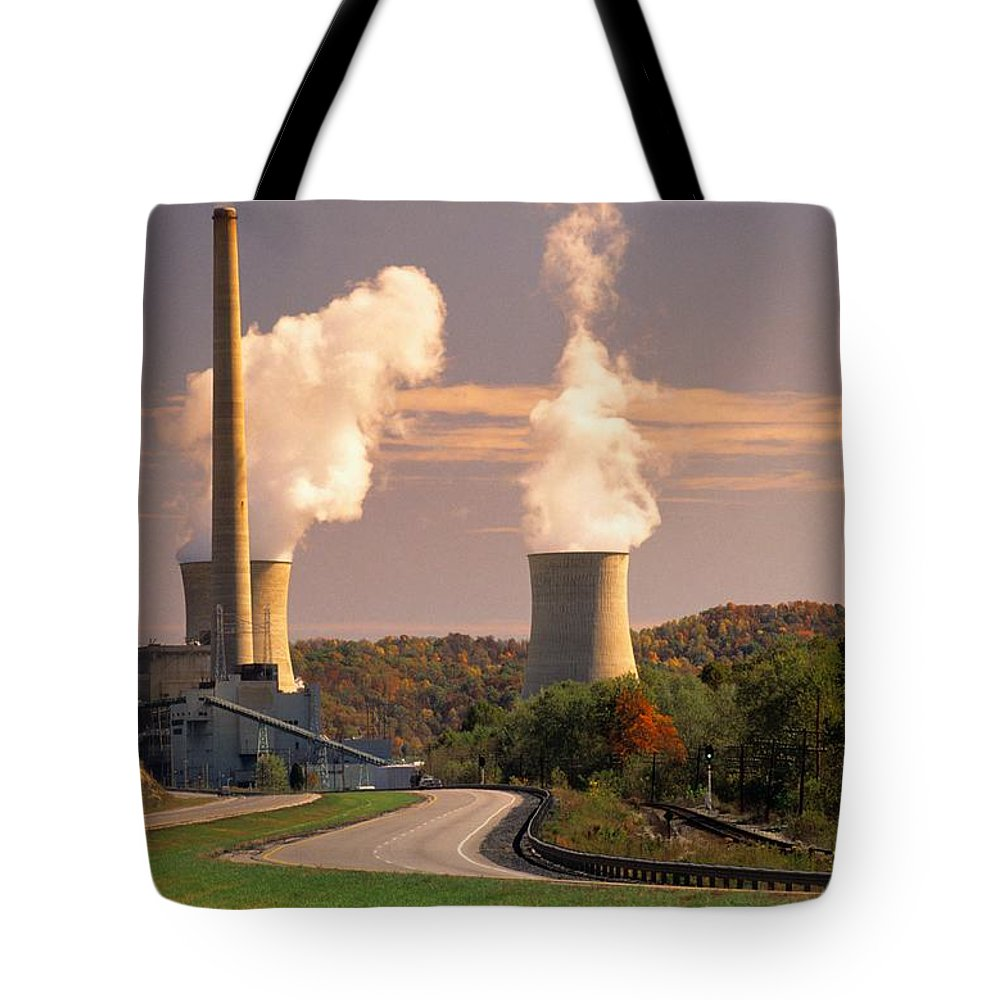 North America Tote Bag featuring the photograph Road And Nuclear Plant. Kentucky by Peter Krogh