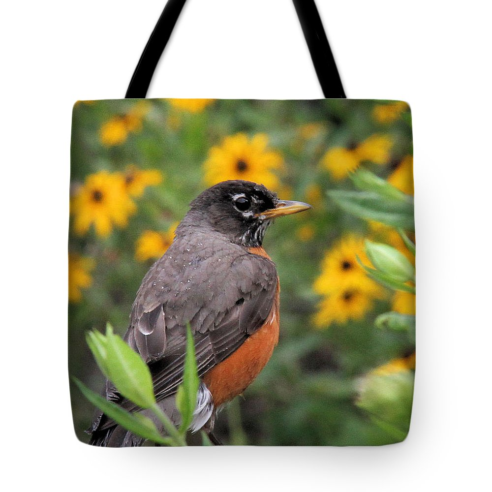 Robin Tote Bag featuring the photograph Robin Among Flowers by Doris Potter