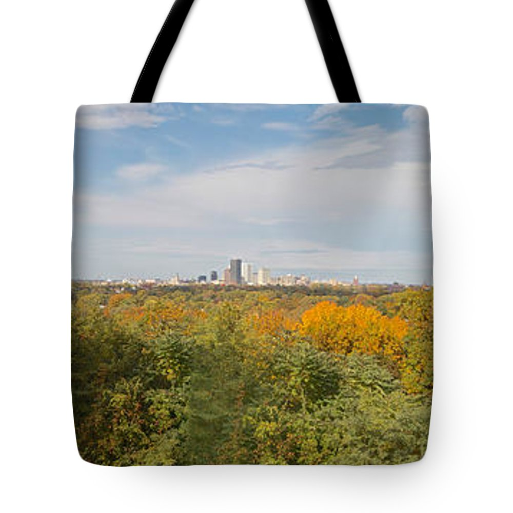 Rochester Tote Bag featuring the photograph Rochester Skyline Panorama by William Norton