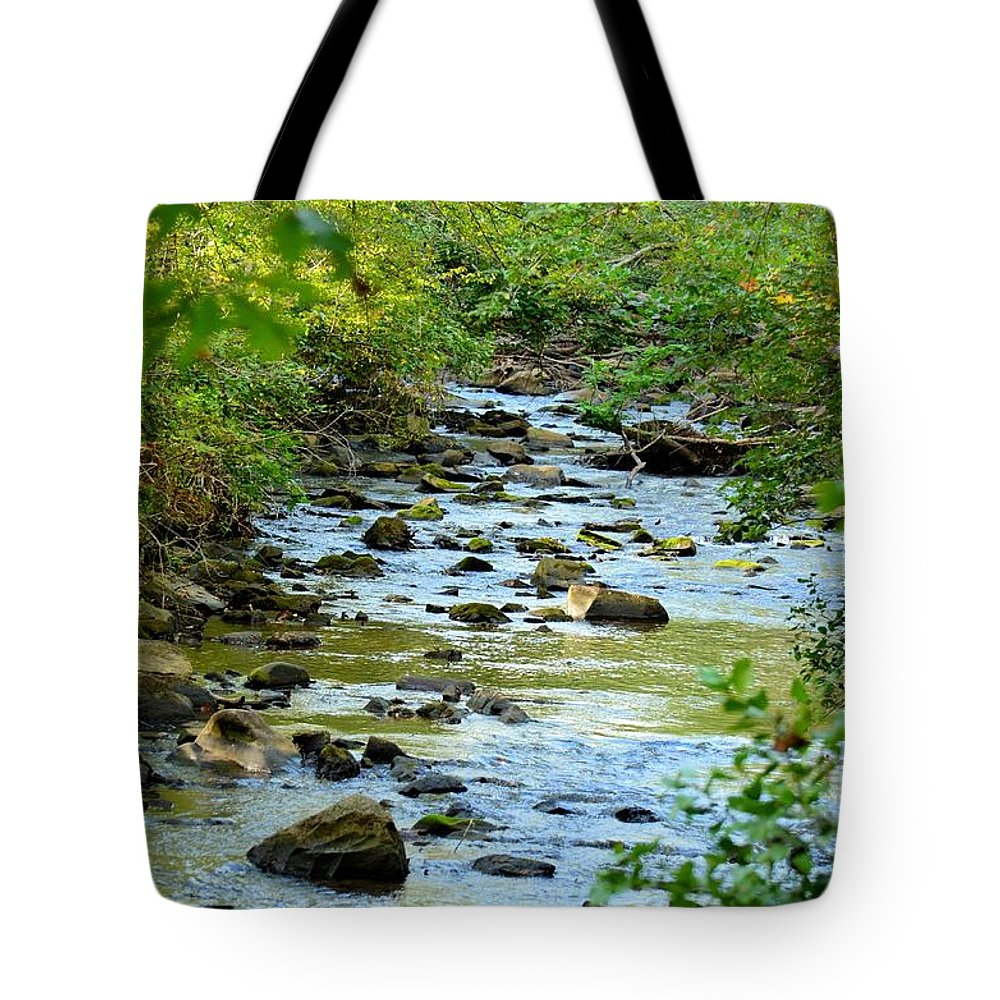 Rock Tote Bag featuring the photograph Rock Creek Bed by Maria Urso