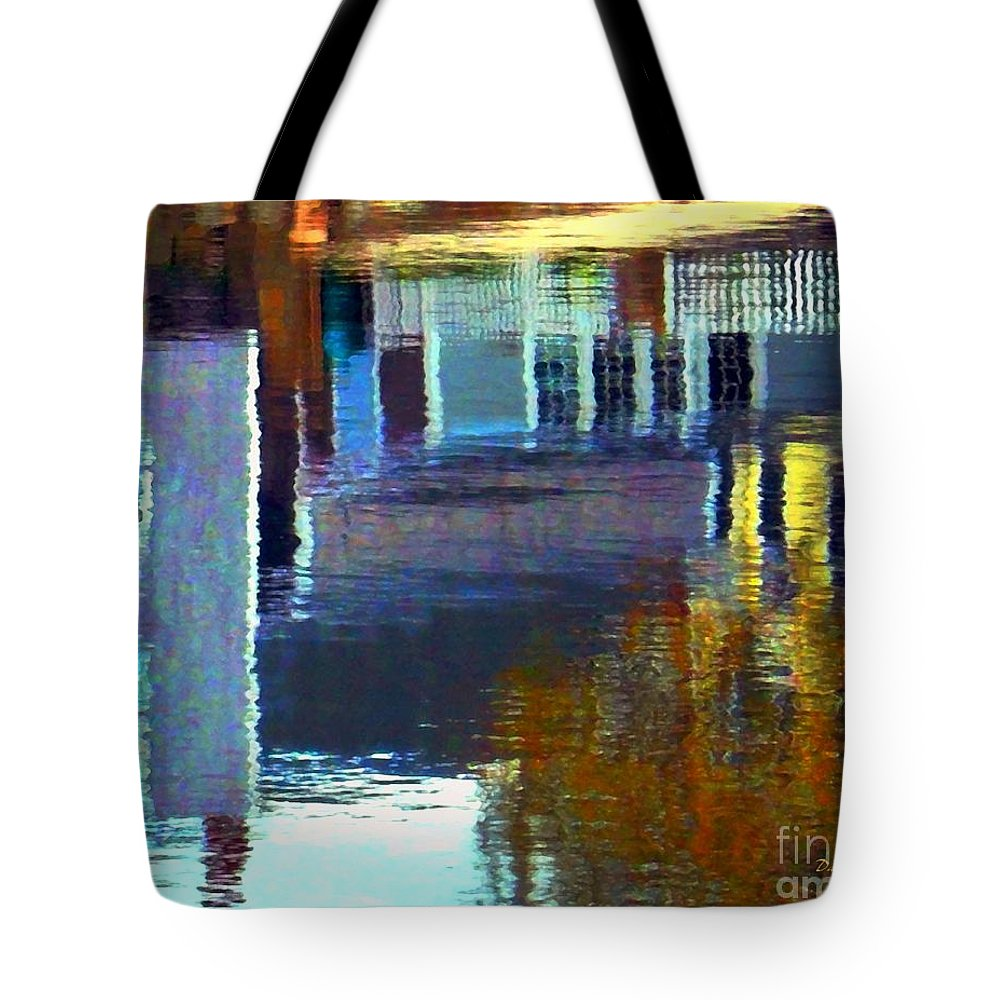 Water Tote Bag featuring the digital art Rockport Reflections by Dale Ford