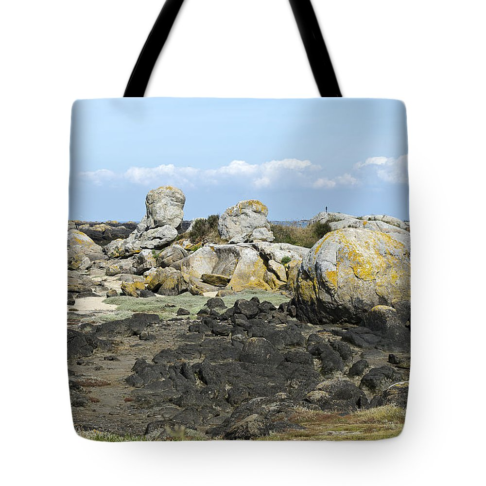 Normandy Tote Bag featuring the photograph Rocks At Low Tide Iles Chausey by Gary Eason