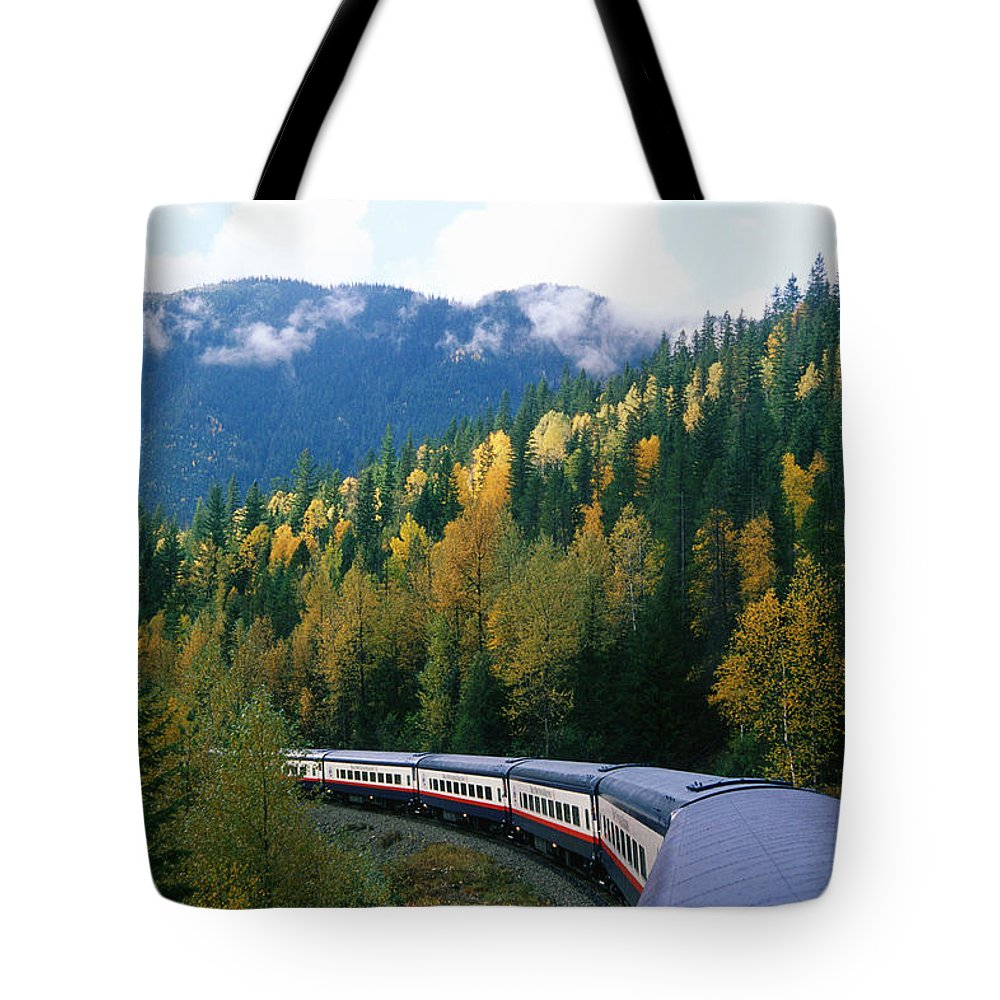 Canadian Rockies Tote Bag featuring the photograph Rocky Mountain Rail Tours, Jasper by Mike Grandmailson