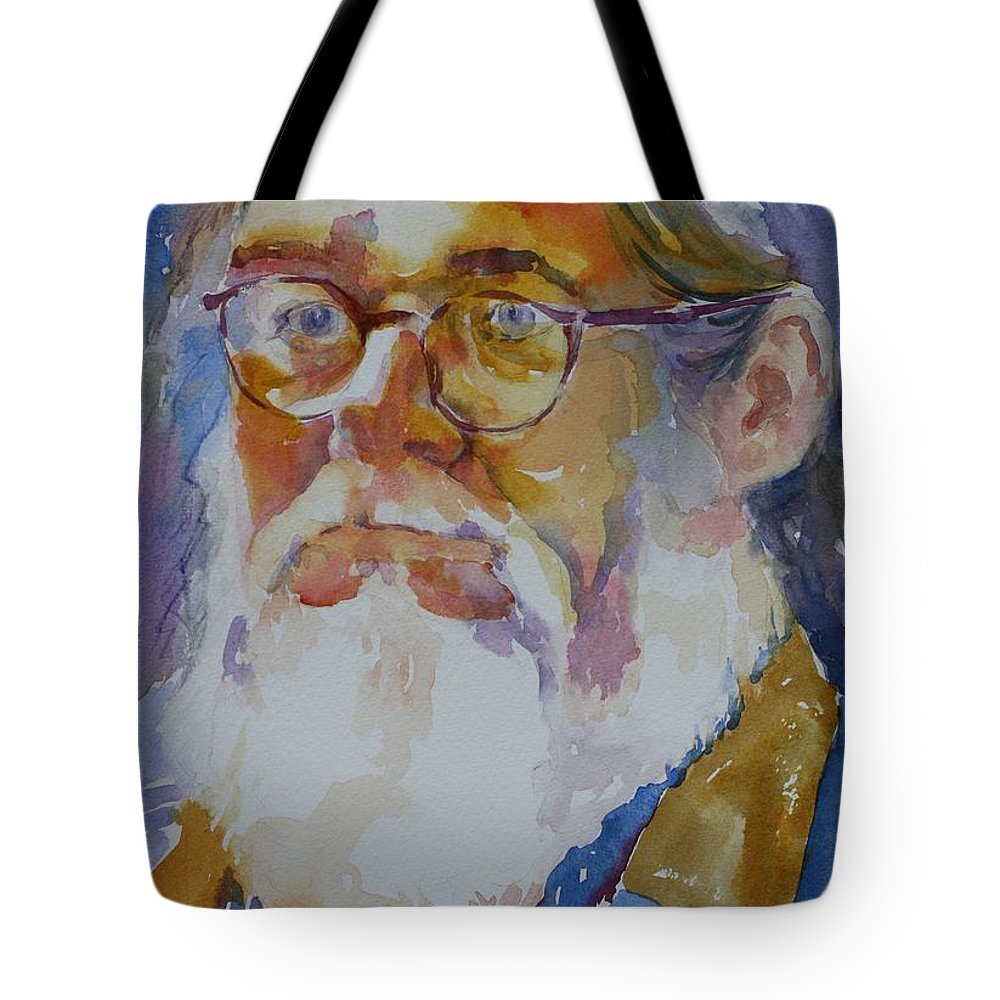 Watercolor Tote Bag featuring the painting Roger by Tara Moorman