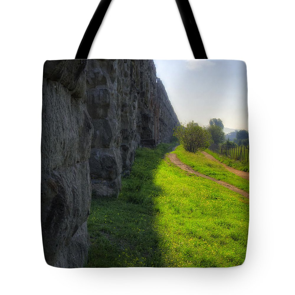 Ancient Tote Bag featuring the photograph Roman Aqueducts by Joan Carroll