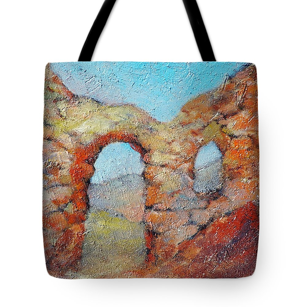 Roman Tote Bag featuring the painting Roman Relicts 21 by Ekaterina Mortensen
