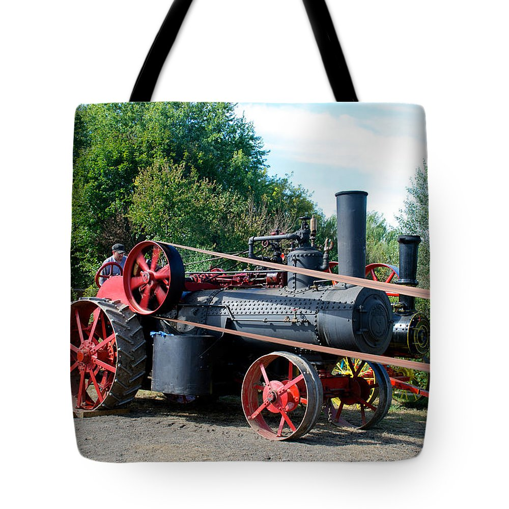 Arcadia Volunteer Fire Company Tote Bag featuring the photograph Romley Powering The Saw by Mark Dodd