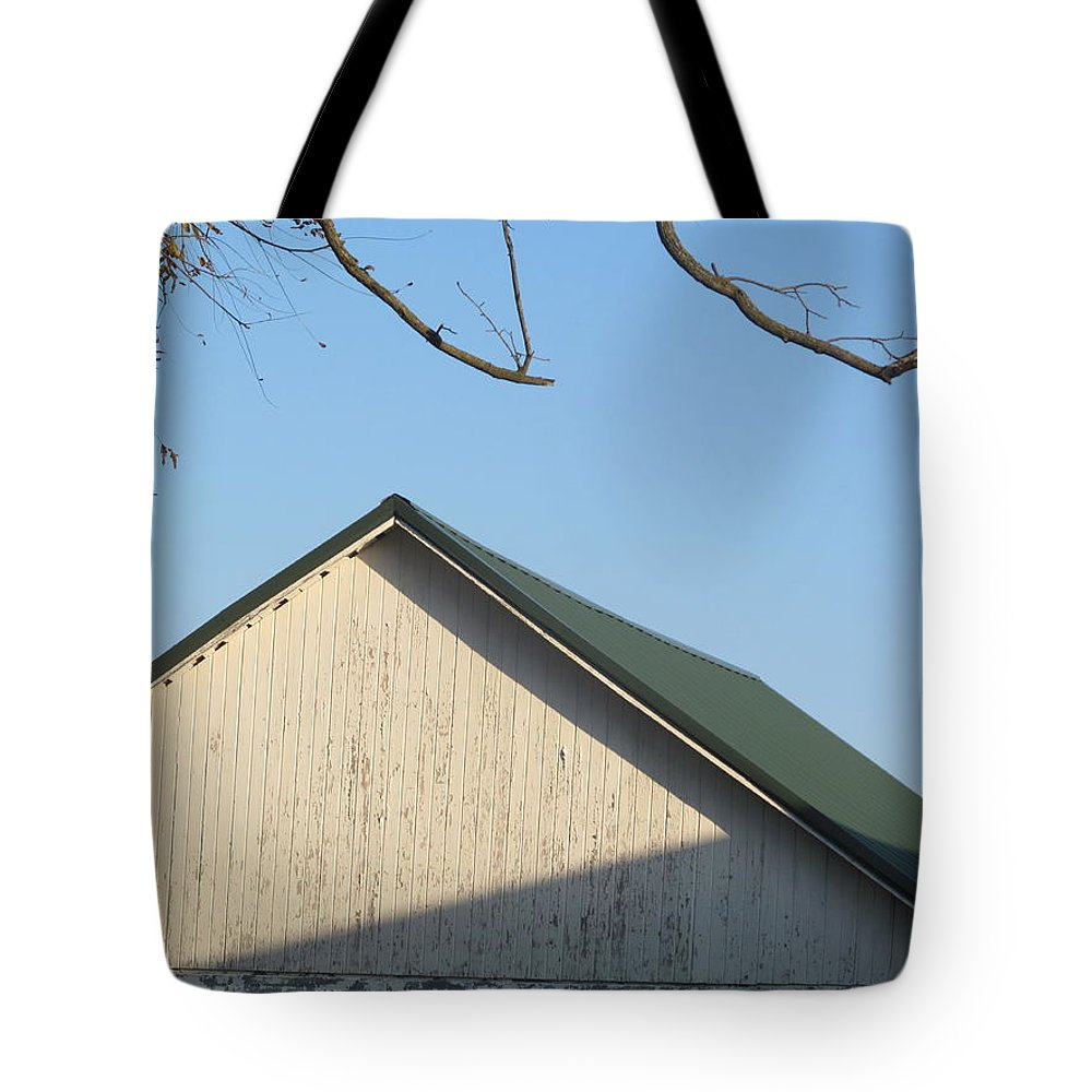 Farm Tote Bag featuring the photograph Roofline And Walnut Tree by Tina M Wenger