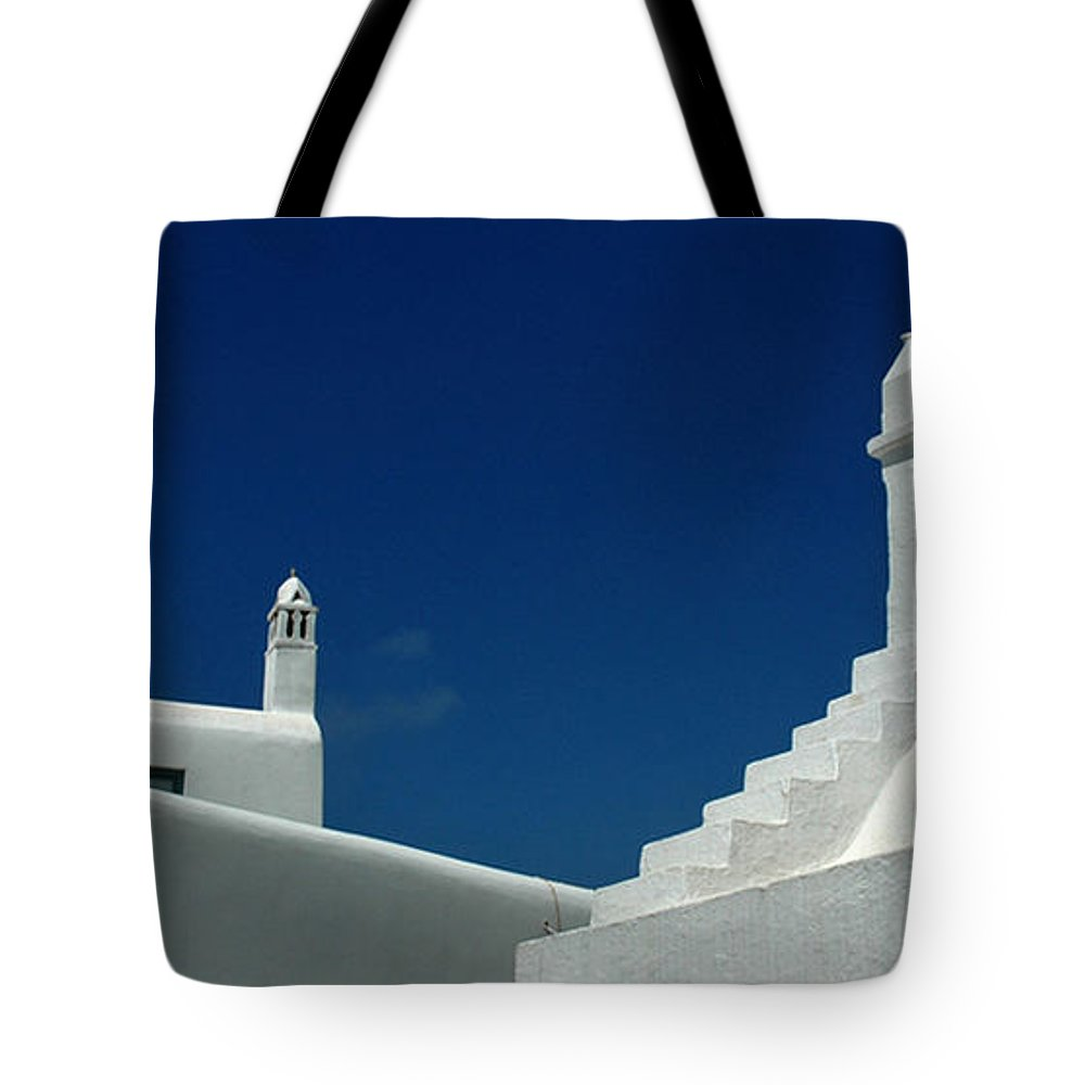 Mykonos Tote Bag featuring the photograph Rooftops Of Mykonos by Vivian Christopher