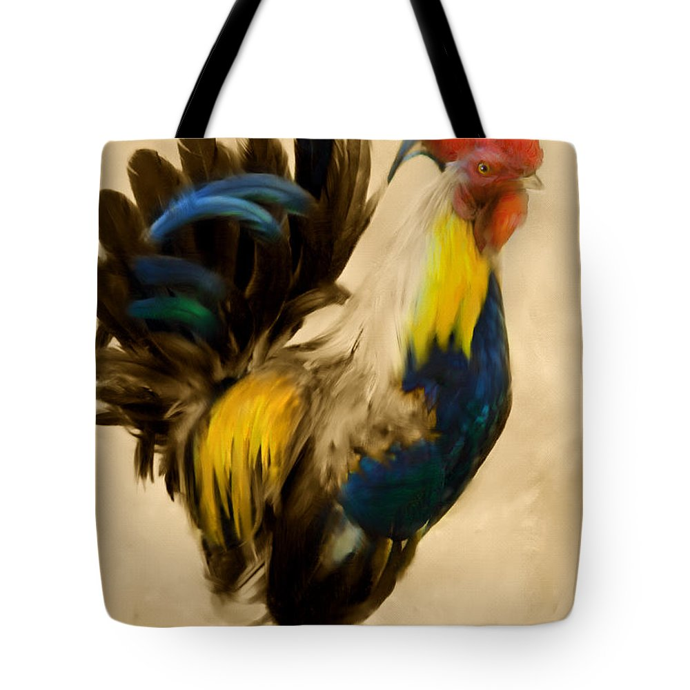 Rooster Tote Bag featuring the painting Rooster On The Prowl 2 - Vintage Tonal by Georgiana Romanovna