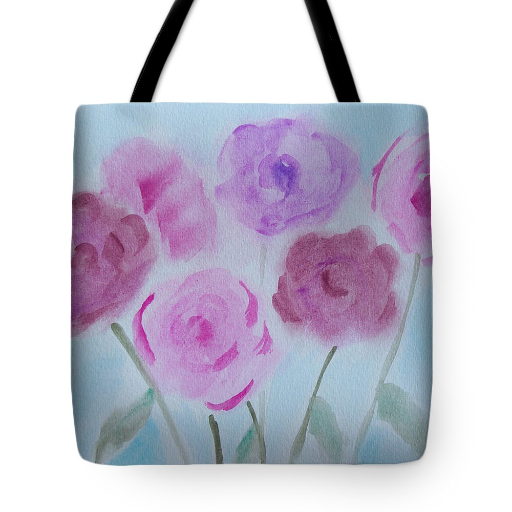Watercolor Tote Bag featuring the painting Roses by Heidi Smith