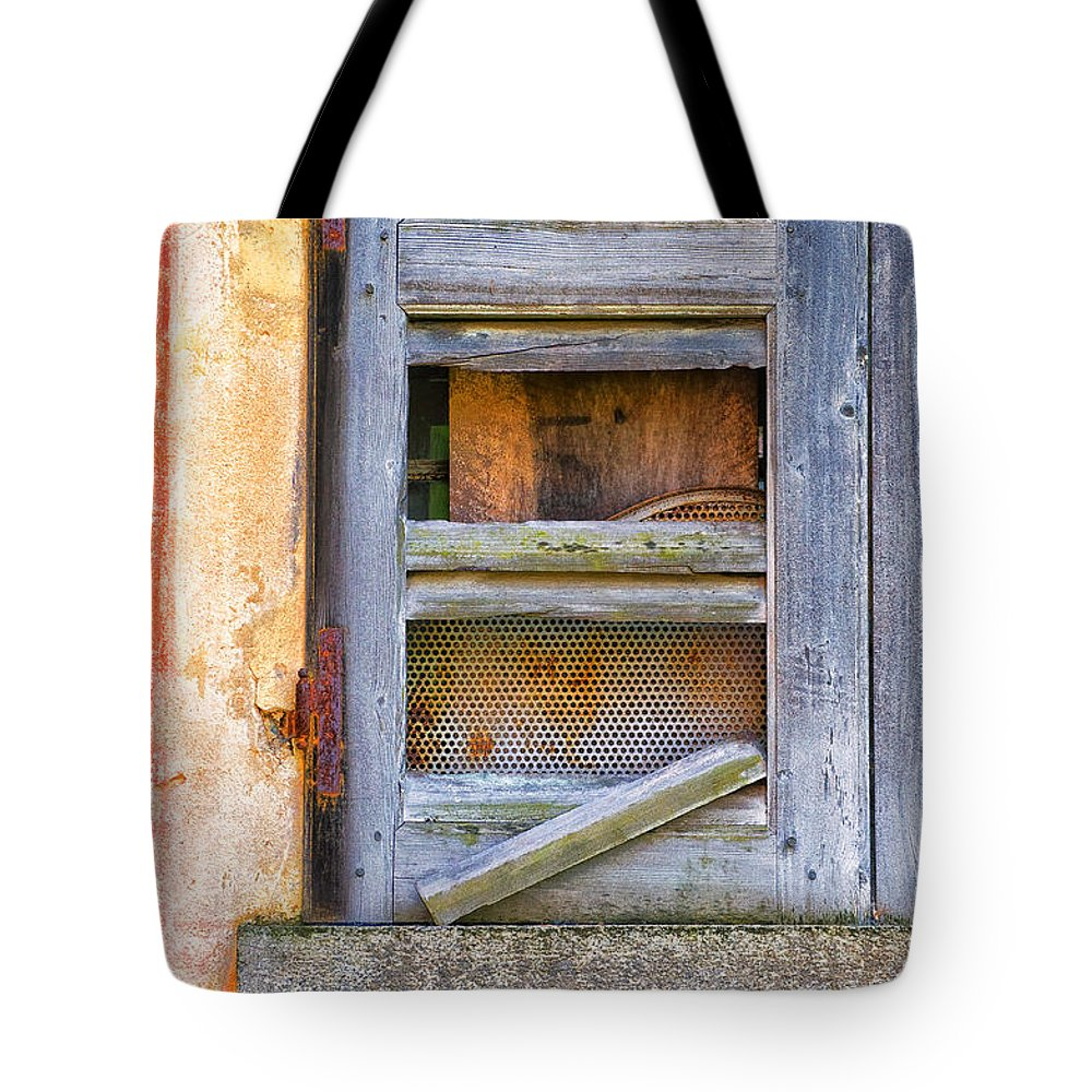 Shutter Tote Bag featuring the photograph Rotten Shutter by Silvia Ganora