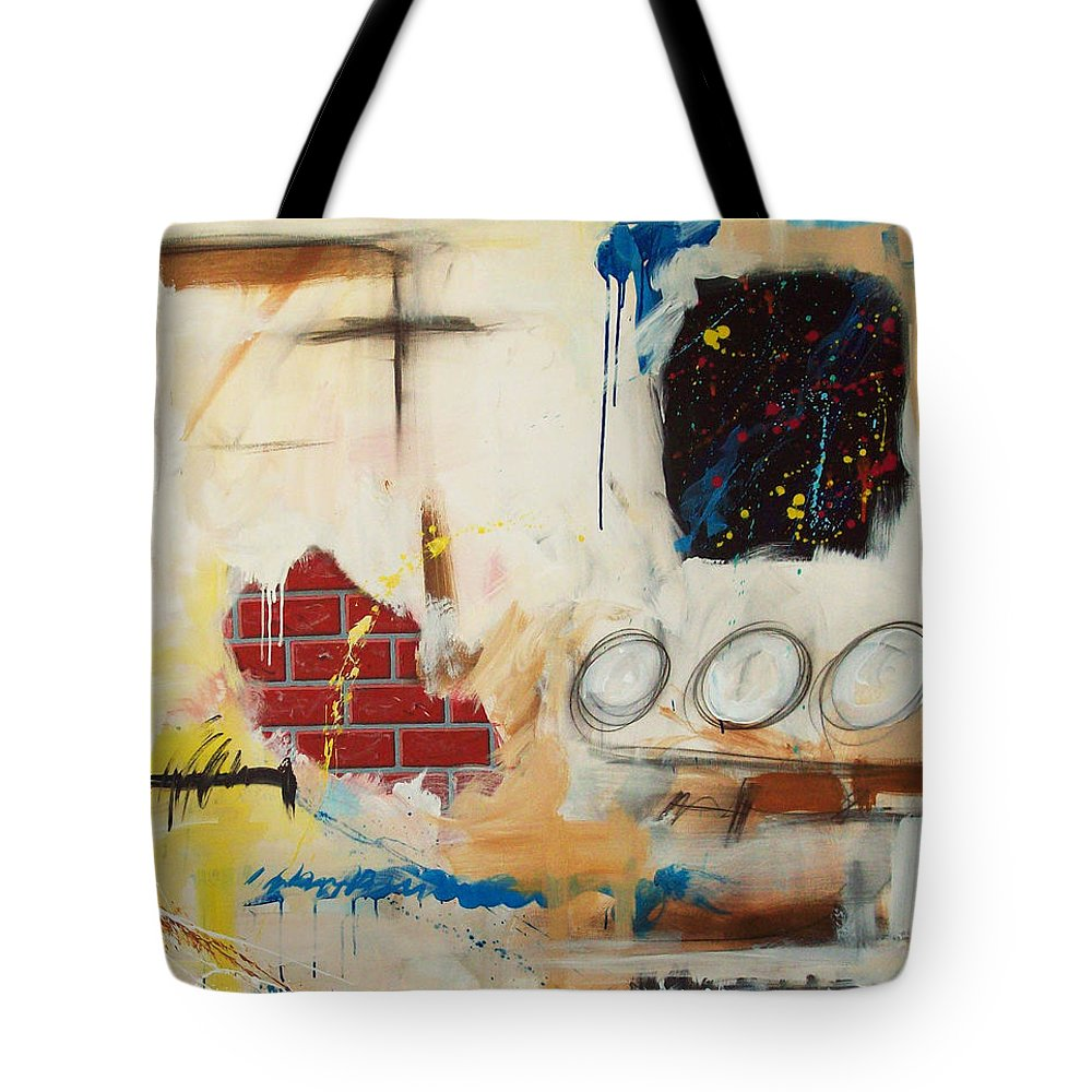 Abstract Tote Bag featuring the painting Rough Rider by Snake Jagger