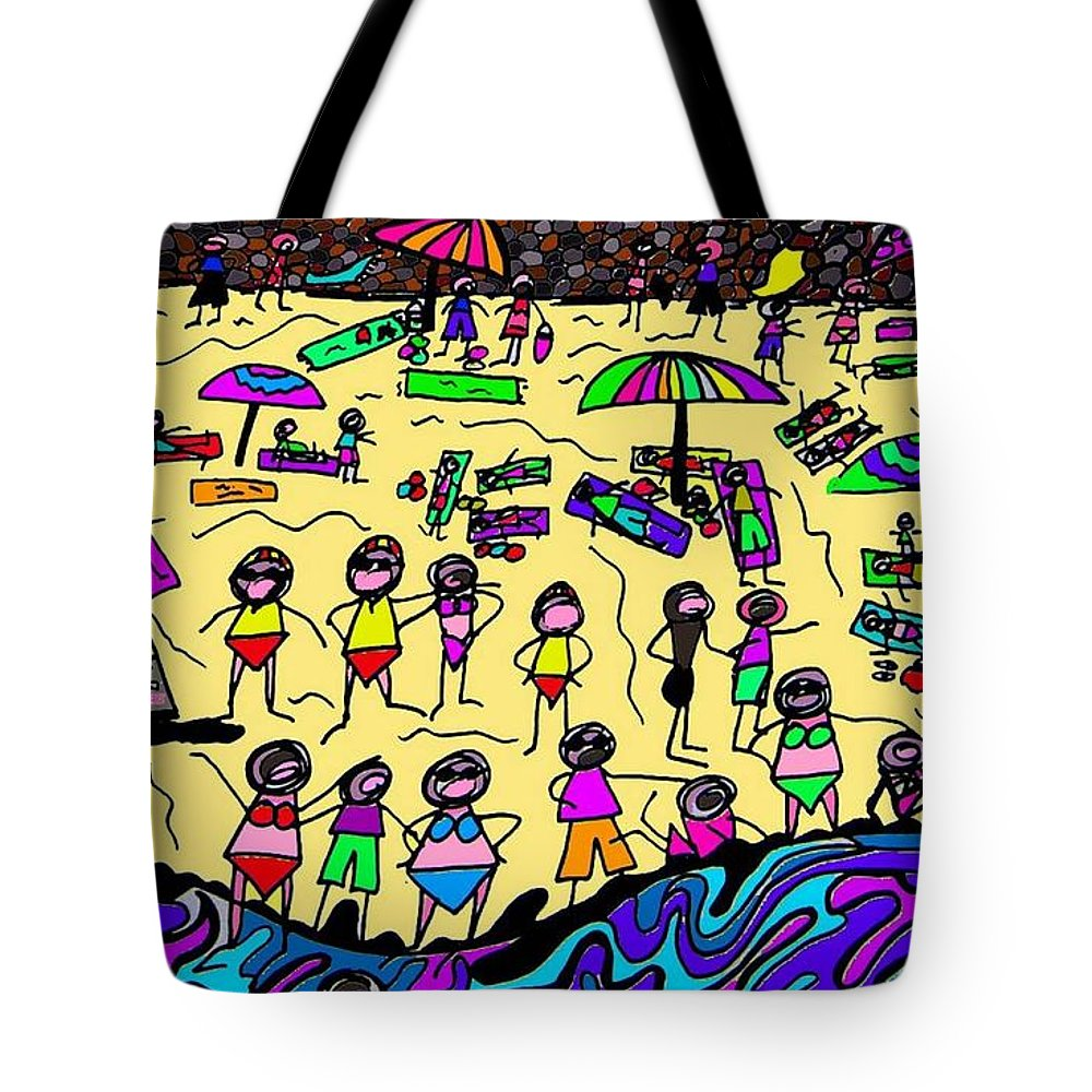 Beach Tote Bag featuring the digital art Rough Seas by Karen Elzinga