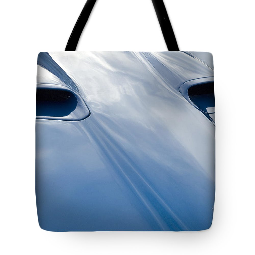 Classic Car Tote Bag featuring the photograph Route 66 Blue Hood by Bob Christopher