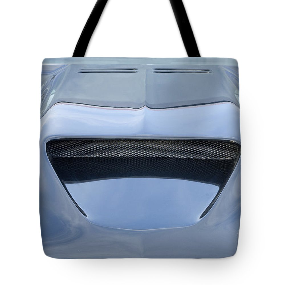 Classic Car Tote Bag featuring the photograph Route 66 Blue Hood Scoop by Bob Christopher