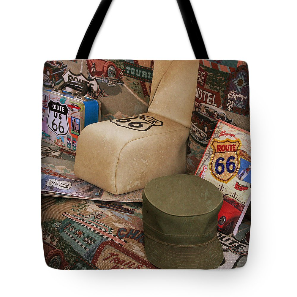 Route 66 Tote Bag featuring the photograph Route 66 Memorablilia by Joel Witmeyer