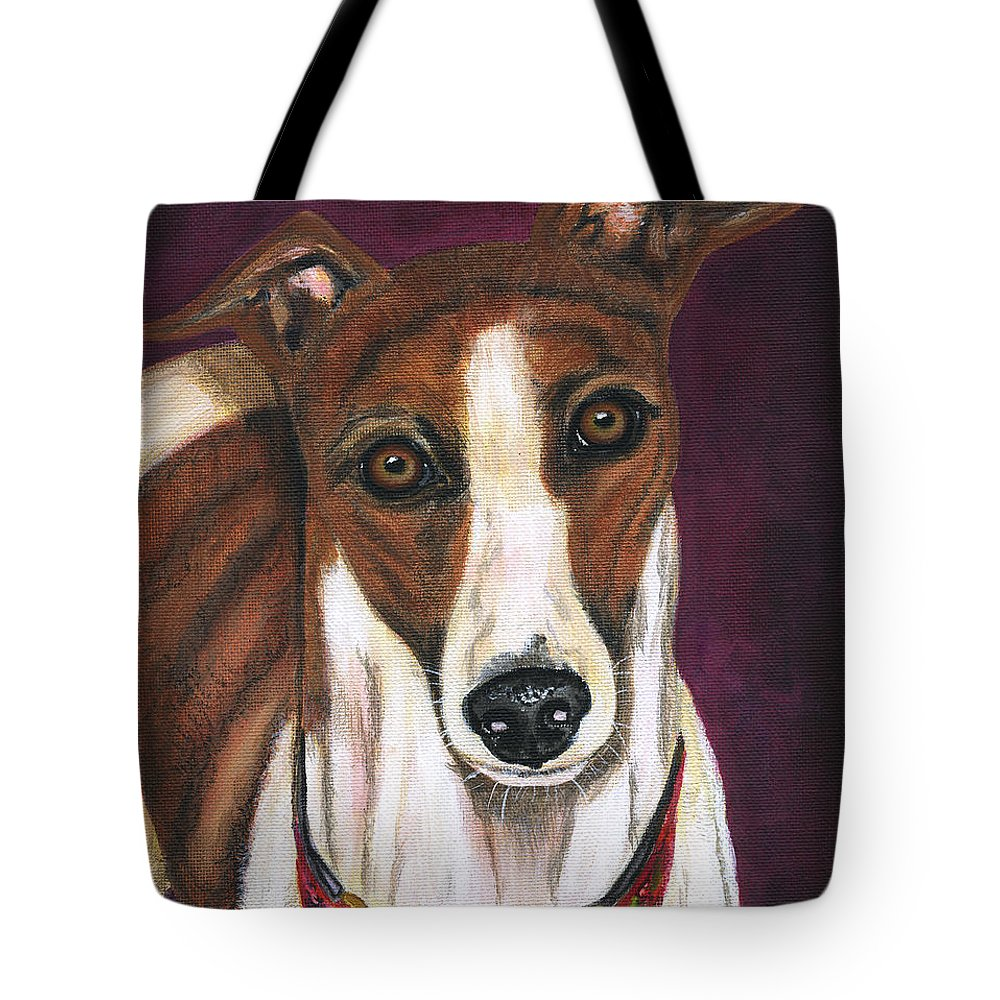 Greyhound Tote Bag featuring the painting Royalty - Greyhound Painting by Michelle Wrighton