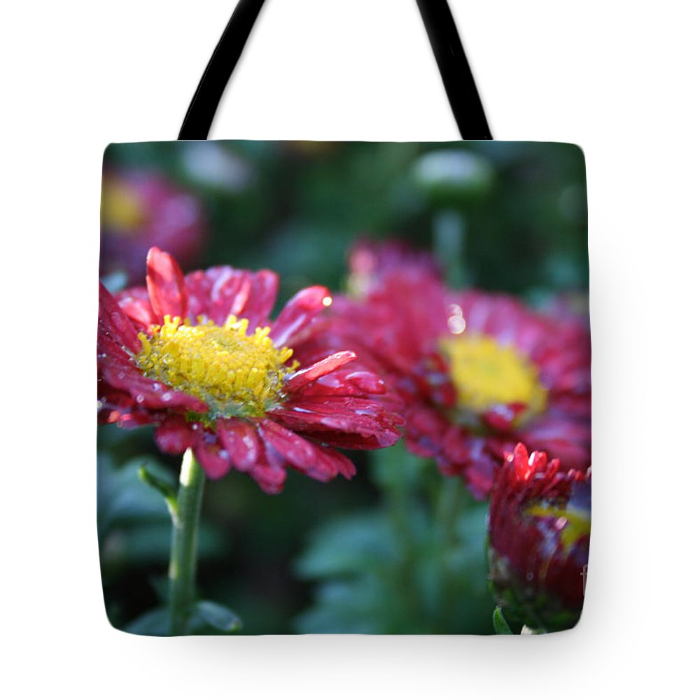 Flower Tote Bag featuring the photograph Ruby Rain by Susan Herber