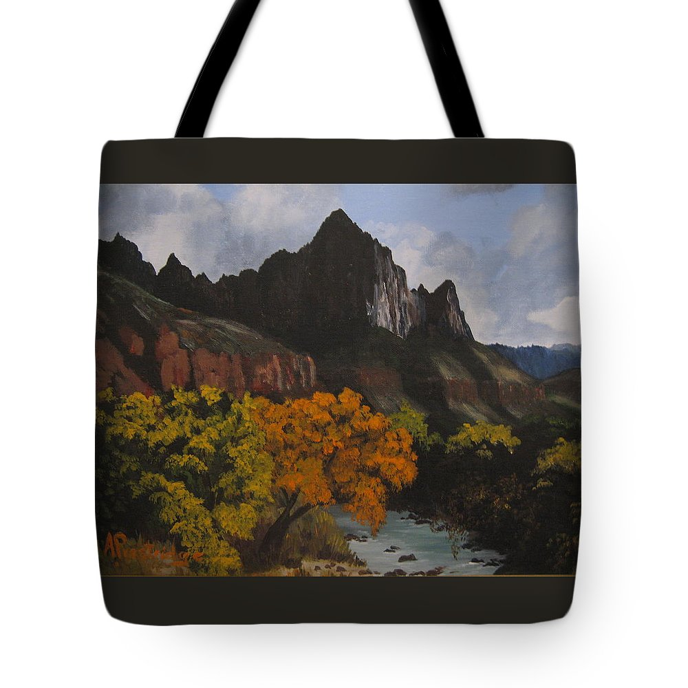 Fall Tote Bag featuring the painting Rugged Peaks by Barbara Prestridge
