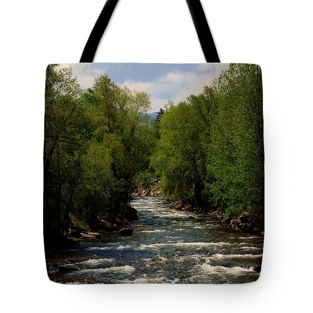 Creek Tote Bag featuring the photograph Running Waters by Judy Hall-Folde