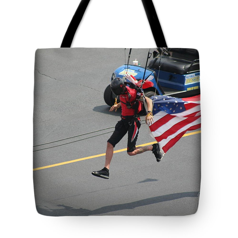 Drag Tote Bag featuring the photograph Running With Ol' Glory by Roger Look