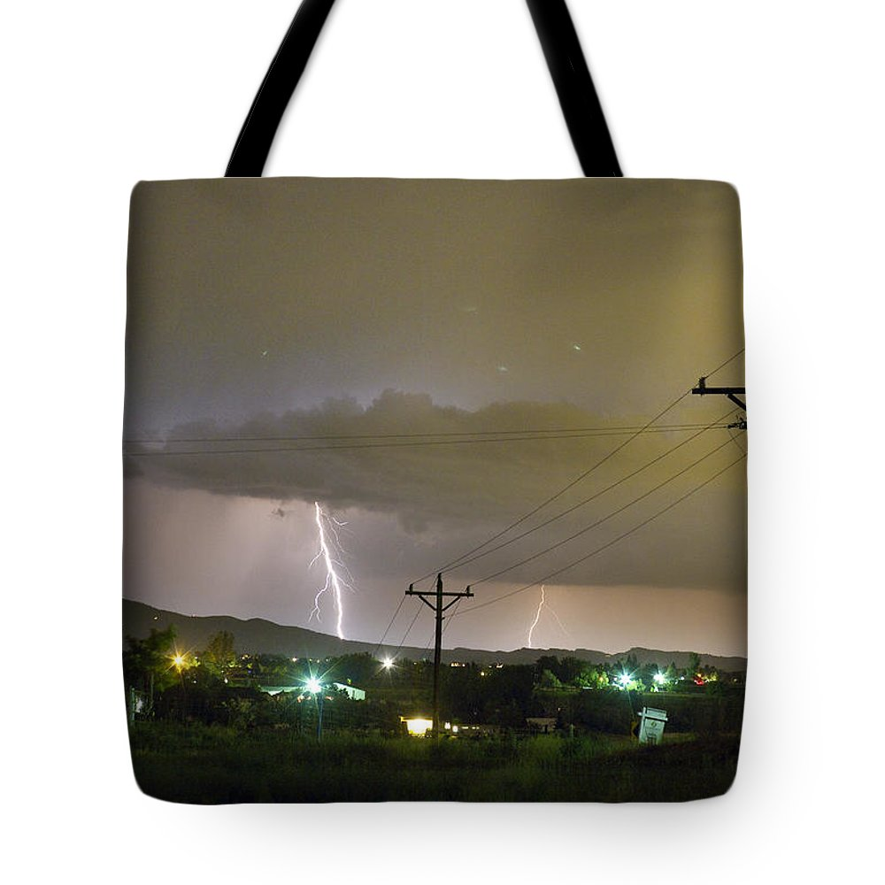Lightning Tote Bag featuring the photograph Rural Lightning Striking by James BO Insogna