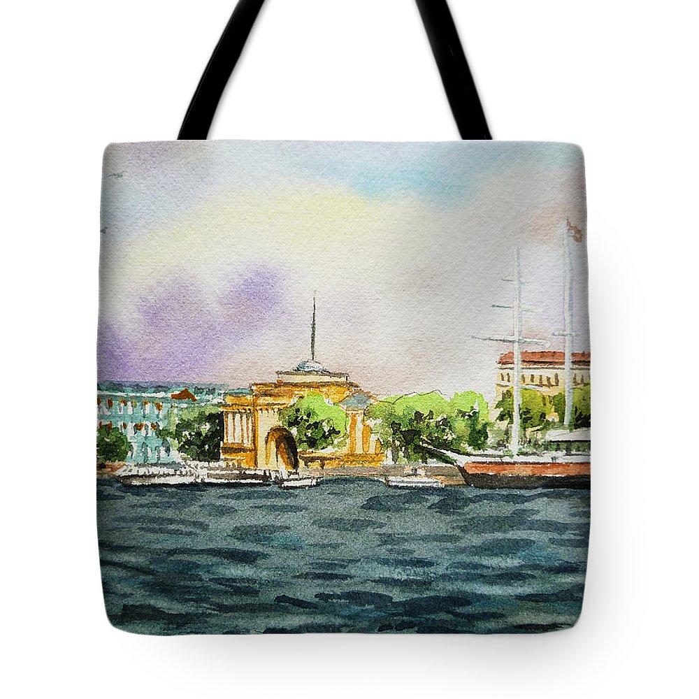 Russia Tote Bag featuring the painting Russia Saint Petersburg Neva River by Irina Sztukowski