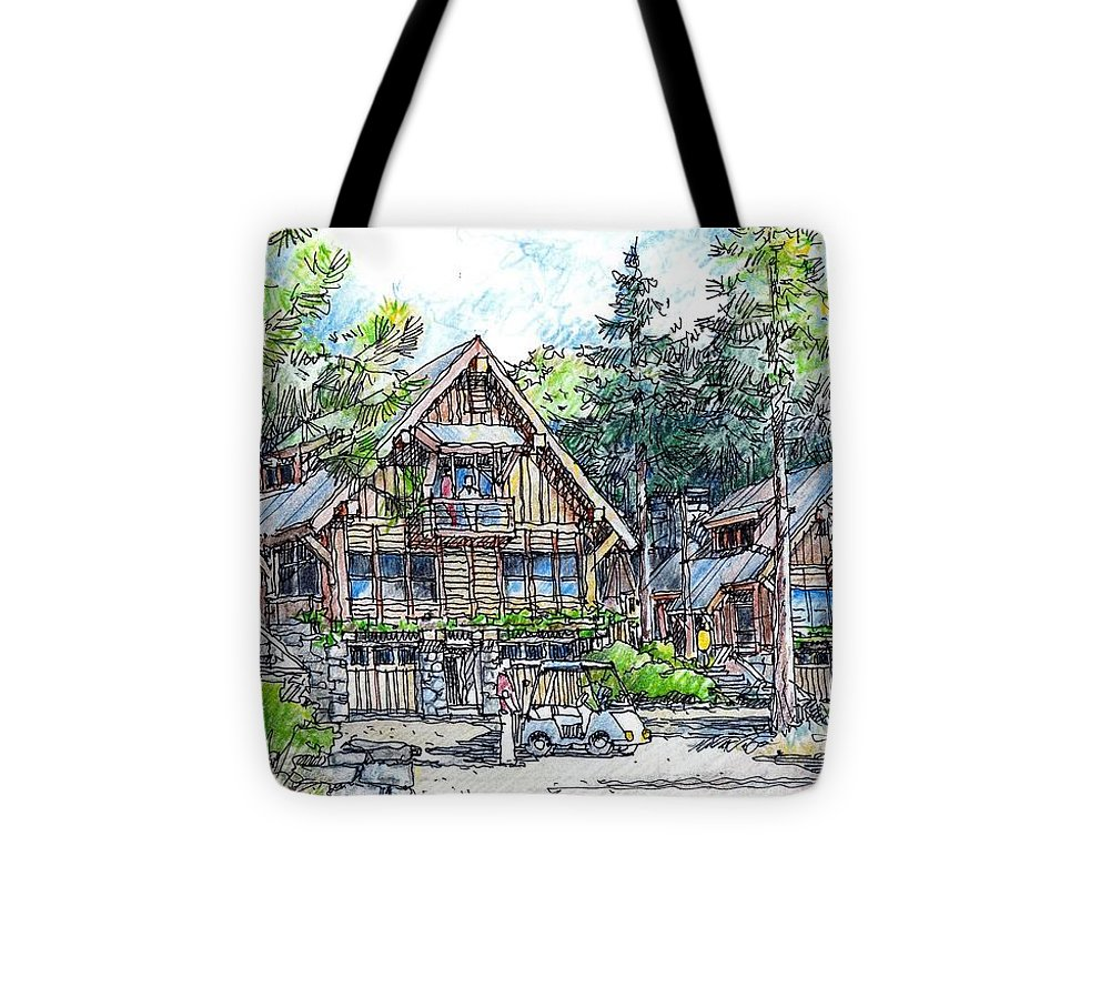 Mountain Rustic Architecture Tote Bag featuring the drawing Rustic Cabins by Andrew Drozdowicz