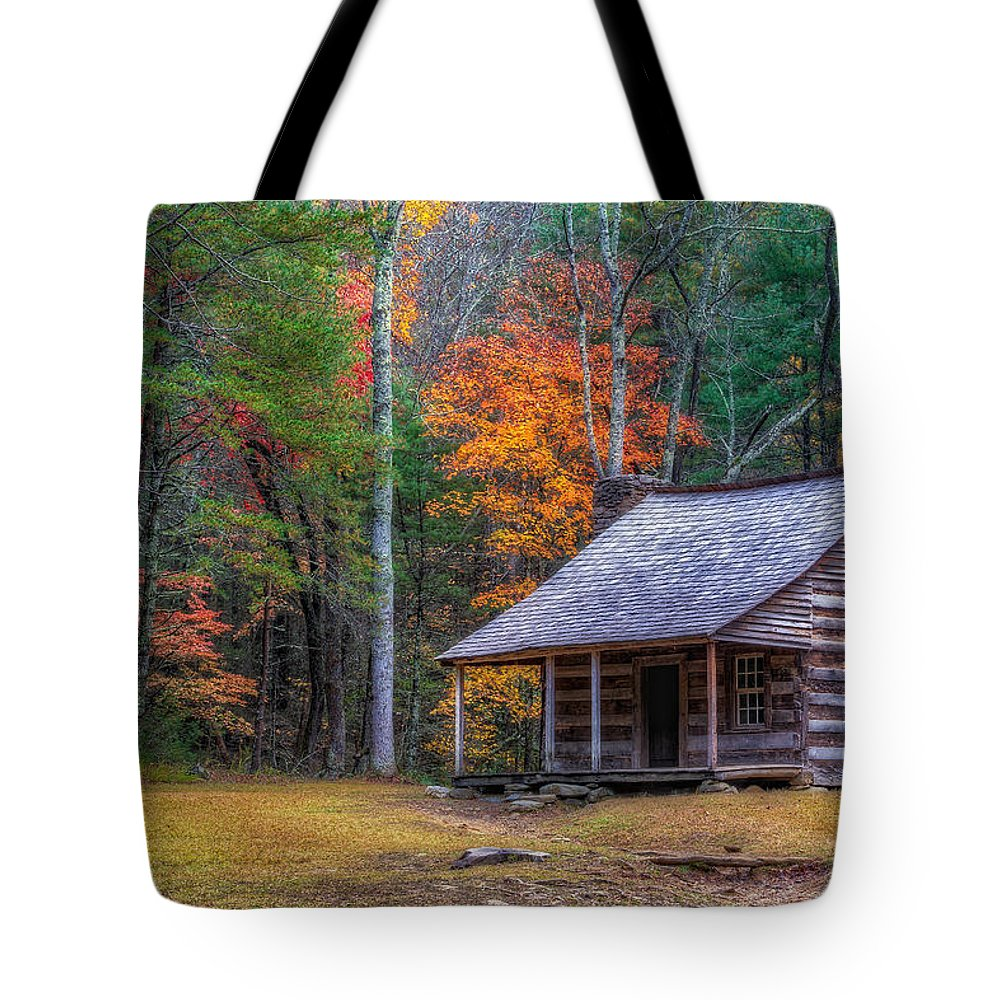 Cades Cove Tote Bag featuring the photograph Rustic Colors by Charlie Choc