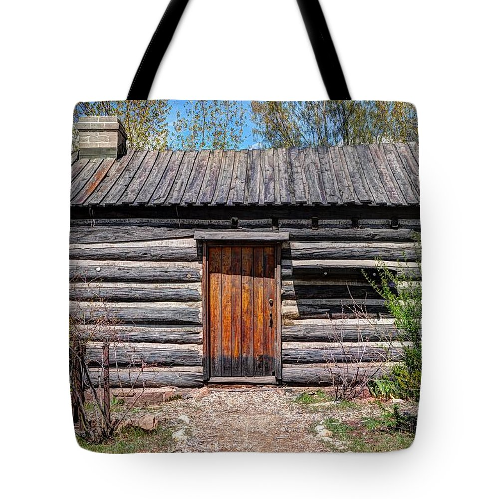 Rustic Tote Bag featuring the photograph Rustic Pioneer Log Cabin - Salt Lake City by Gary Whitton