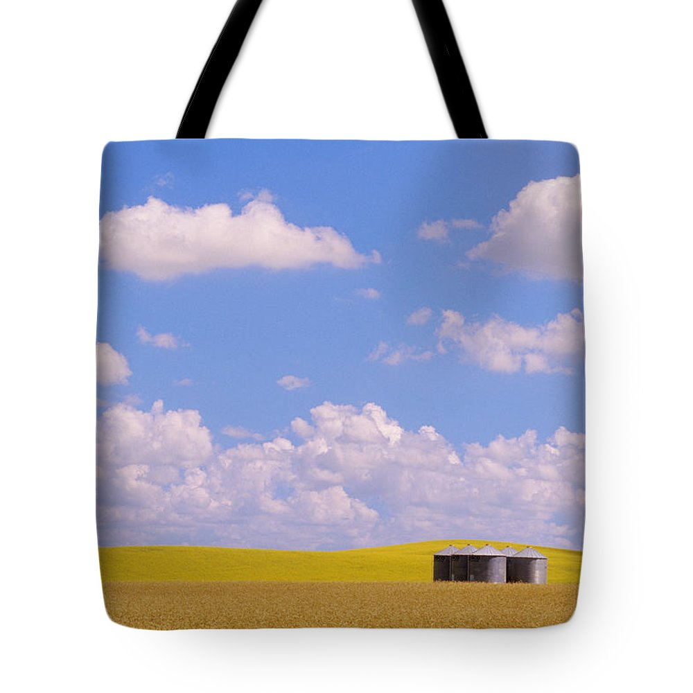 Agriculture Tote Bag featuring the photograph Rye, Canola And Grainery, Bruxelles by Mike Grandmailson