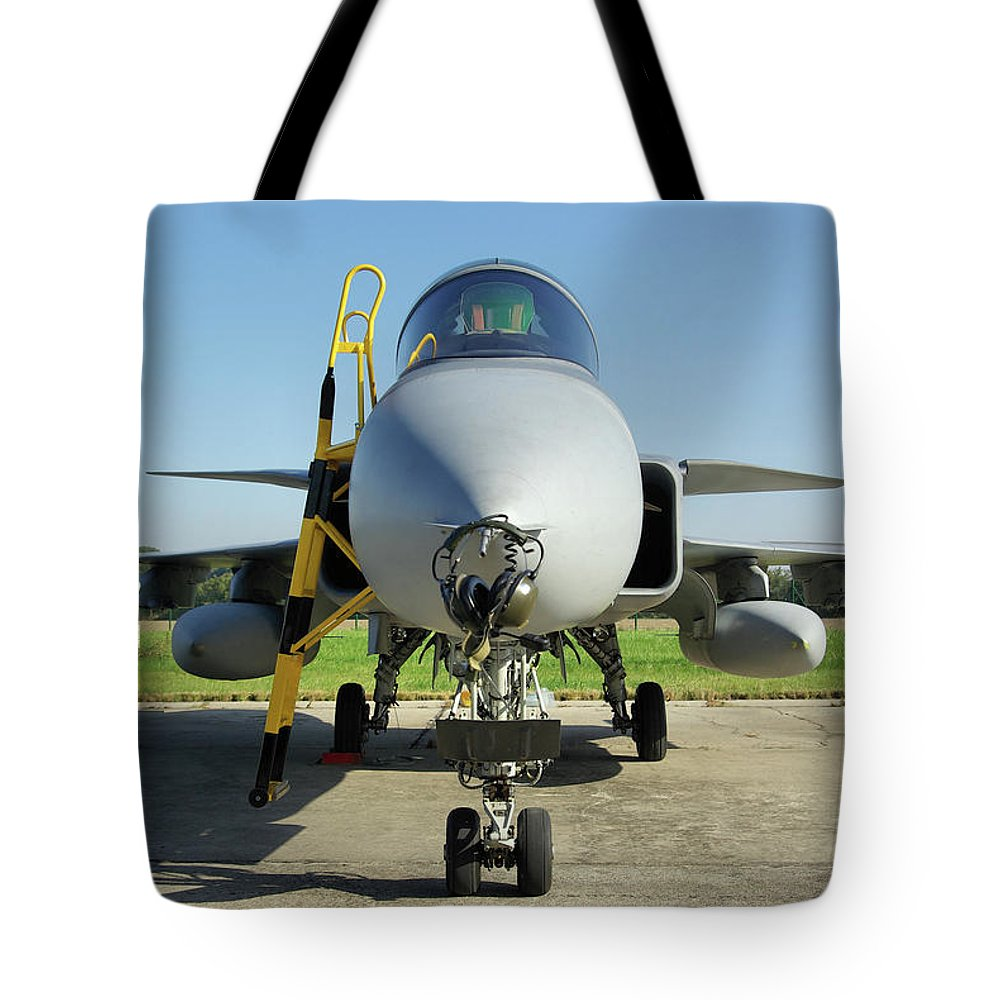 Saab Jas39d Gripen Multi Role Fighter Hungarian Air Force Hungary Nato Days Ostrava Czech Republic September 2011 Aircraft Jet Aeroplane Airplane Tote Bag featuring the photograph Saab Jas39d Gripen by Tim Beach