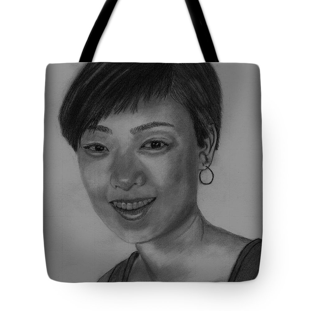 Chinese Girl Tote Bag featuring the drawing Sabrina by Michael Brennan