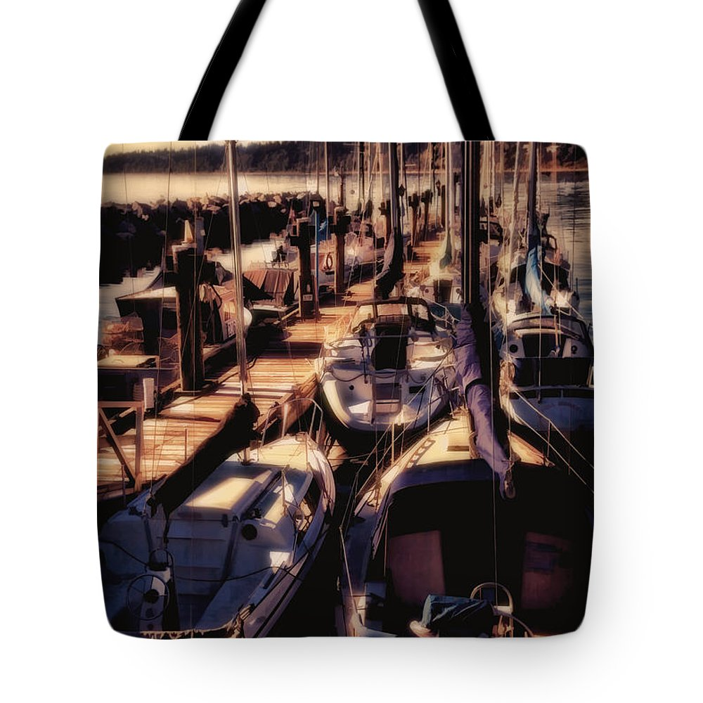 Sailboat Tote Bag featuring the digital art Sailboat White Rock British Columbia by Diane Dugas