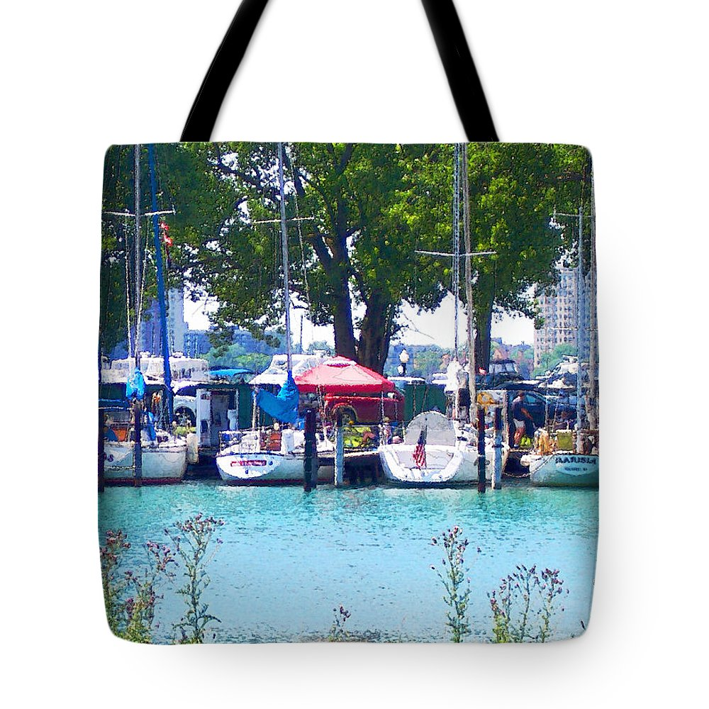 Photo Tote Bag featuring the photograph Sailboats In Dock by Phil Perkins
