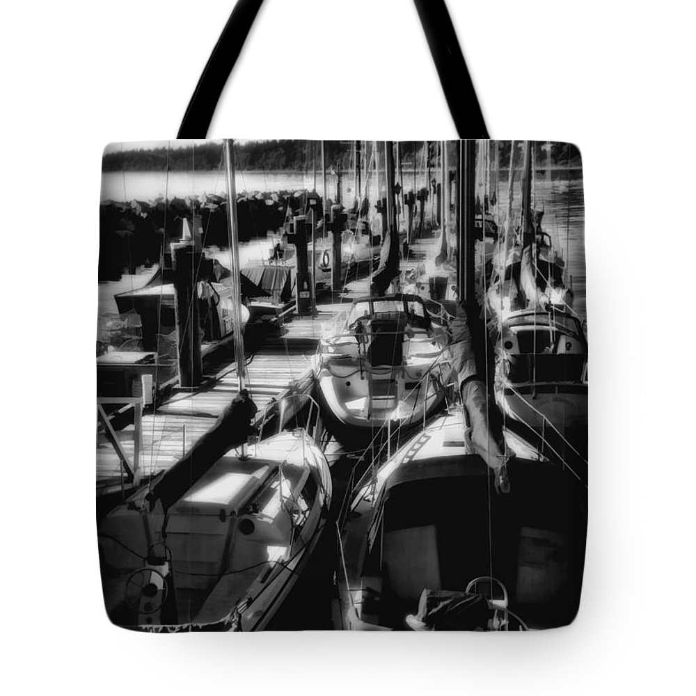 Boat Tote Bag featuring the digital art Sailboats White Rock Bc Bw by Diane Dugas