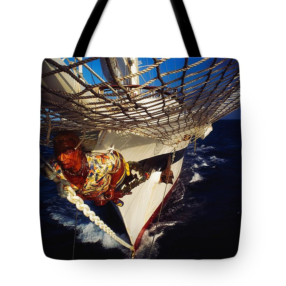 Adventure Sports Tote Bag featuring the photograph Sailing, Figurehead On The Prow Of A by The Irish Image Collection
