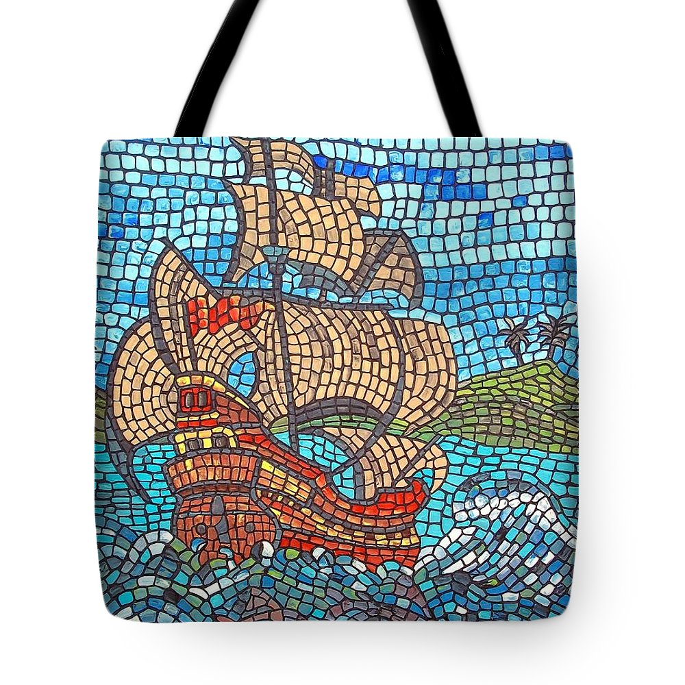 Ocean Tote Bag featuring the painting Sailing Home by Cynthia Amaral