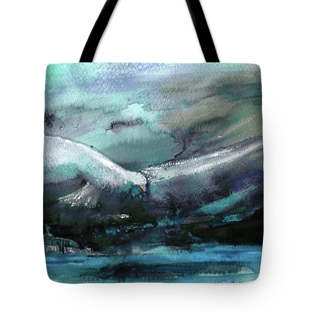 Animals Tote Bag featuring the painting Sailing Over The Sea by Miki De Goodaboom