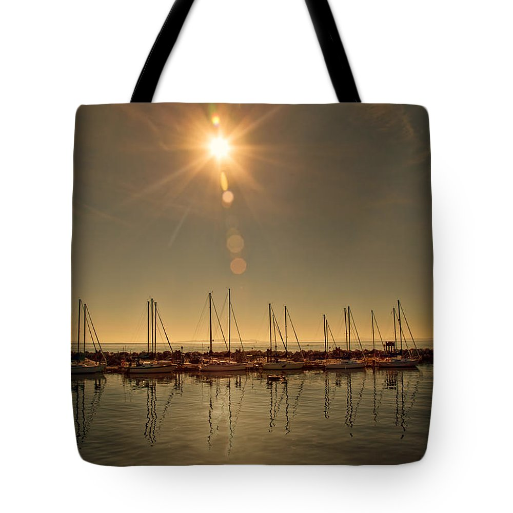 Sailboat Tote Bag featuring the digital art Sailing Under The Sun White Rock Bc by Diane Dugas