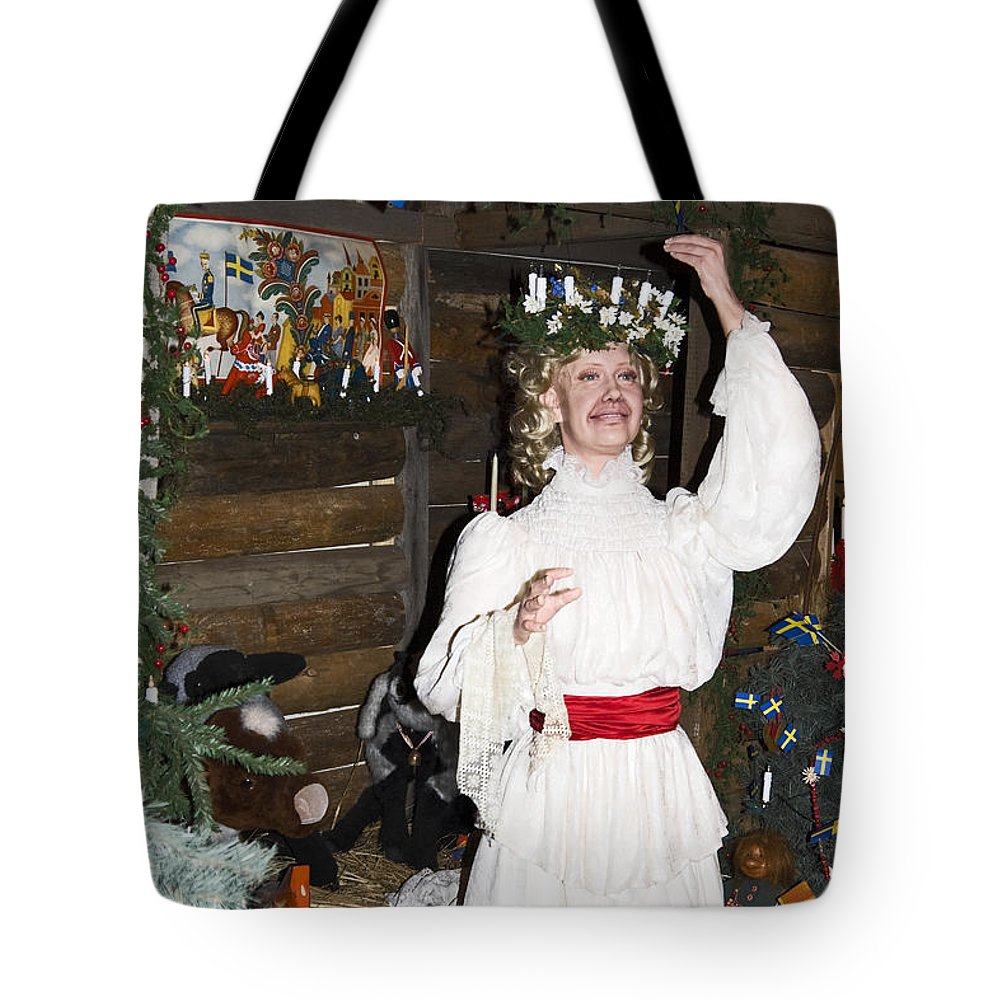 St. Lucia Of Sweden Christmas Figure Tote Bag featuring the photograph Saint Lucia by Sally Weigand