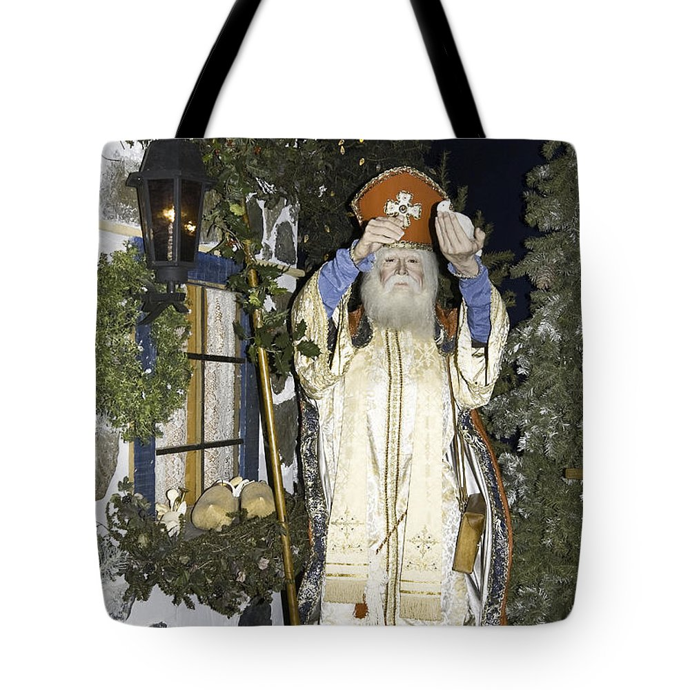 St. Nicholas Of Holland Figure Tote Bag featuring the photograph Saint Nicholas by Sally Weigand
