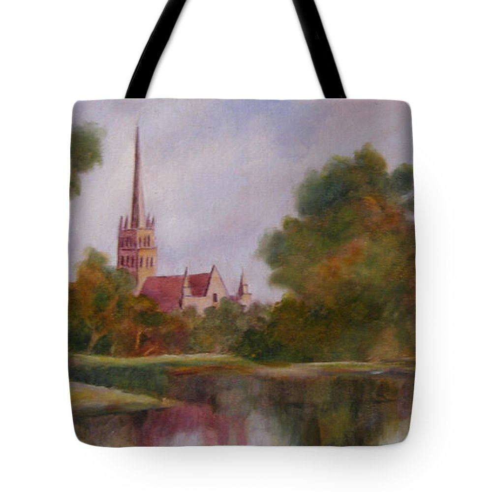 English Landscape Tote Bag featuring the painting Salisbury Cathedral by Mark Perry