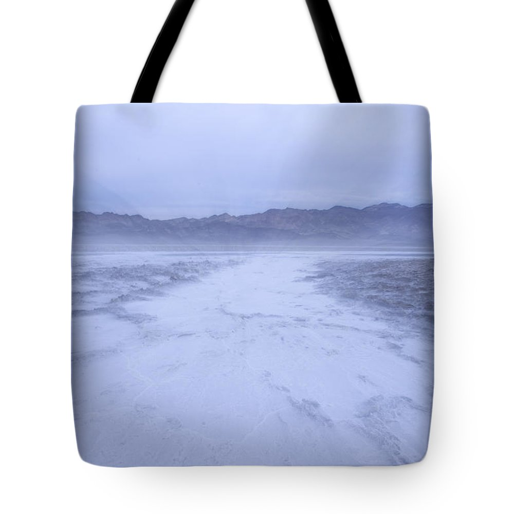 Photography Tote Bag featuring the photograph Salt Flats Appear Blue When Shot by Phil Schermeister