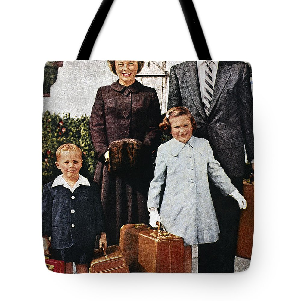 1956 Tote Bag featuring the photograph Samsonite Ad, 1956 by Granger