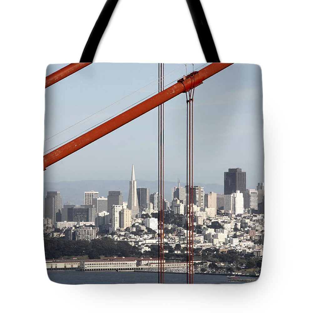 San Francisco Through The Cables Tote Bag featuring the photograph San Francisco Through The Cables by Wes and Dotty Weber