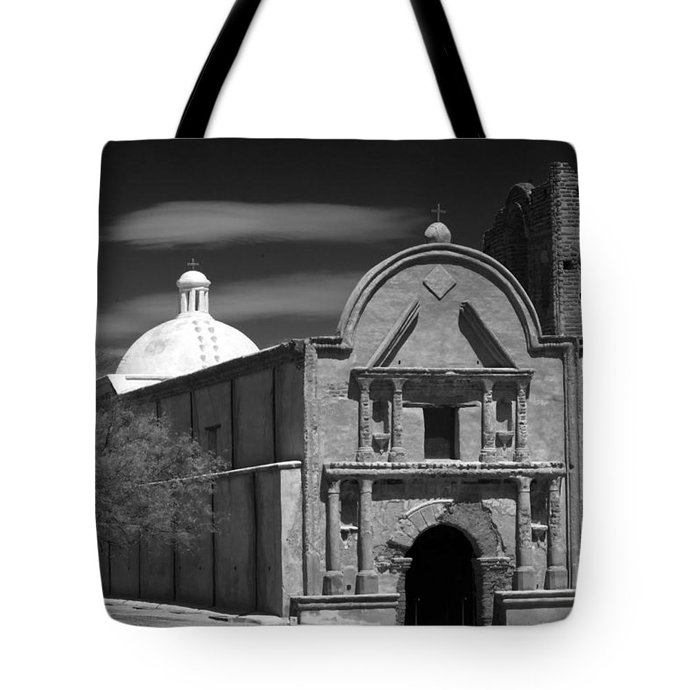 B&w Tote Bag featuring the photograph San Jose De Tumacacori by Sandra Bronstein